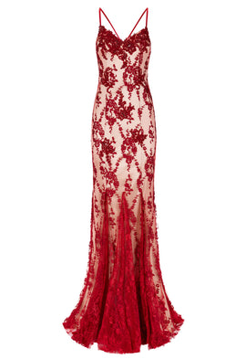 Dynasty Andromeda Red Lace Maxi Dress