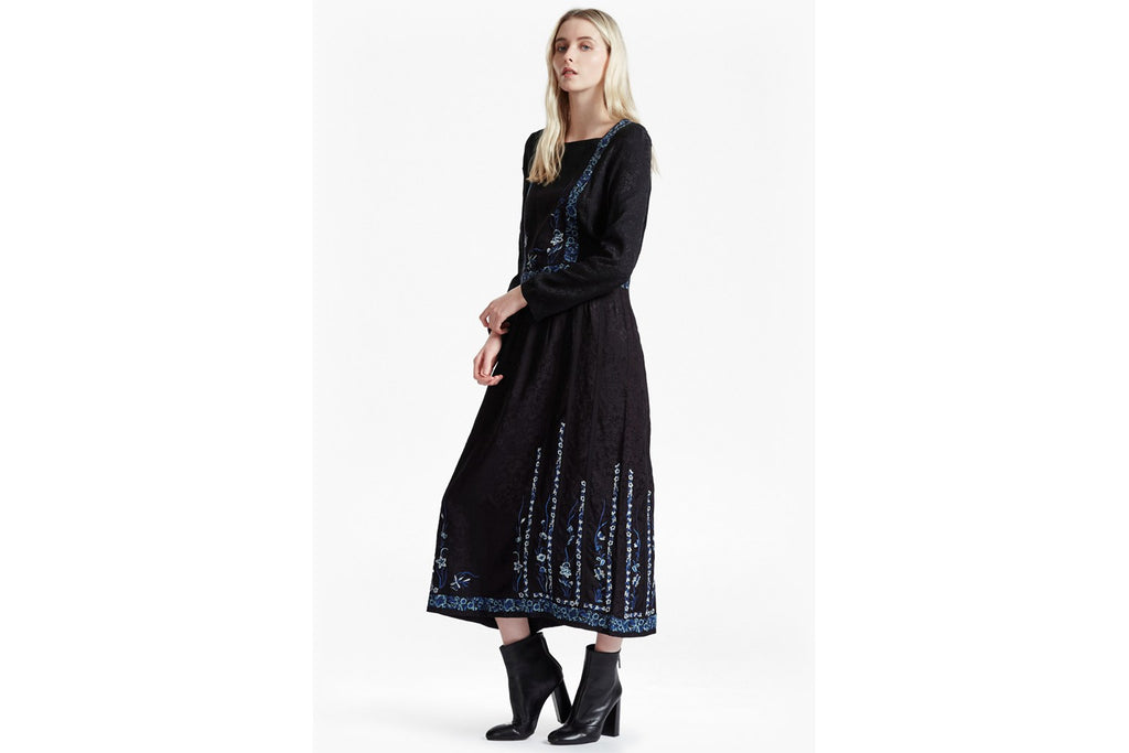 Argento Stitch Floral Embroidered Maxi Dress - black multi