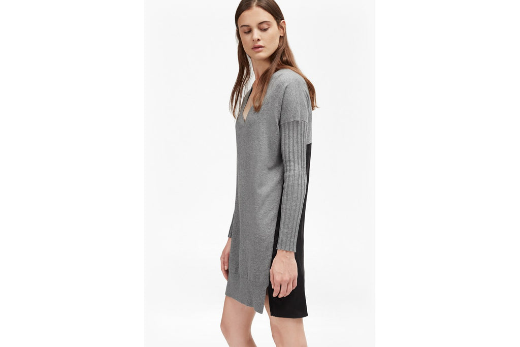 Aries Knits Wool Jumper Dress - mid grey mel/black