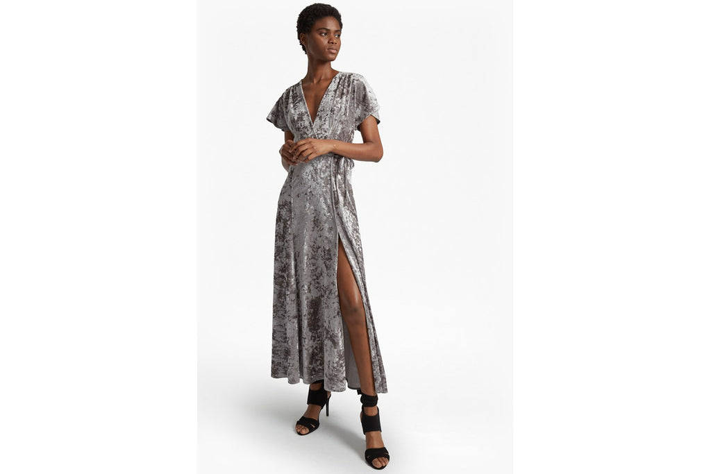 Aurore Crushed Velvet Maxi Dress - smokey