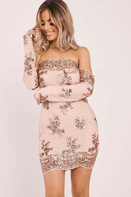 Rose /gold Dresses - Debs Rose Gold Floral Sequin Bardot Dress