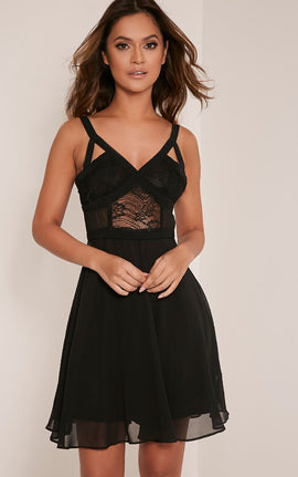 Abela Black Lace Panel Skater Dress- Black