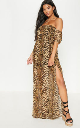 Leopard Chiffon Bardot Extreme Split Maxi Dress- Brown
