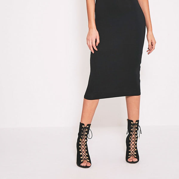 2 Pack Basic Black T Shirt and Midi Dress- Black