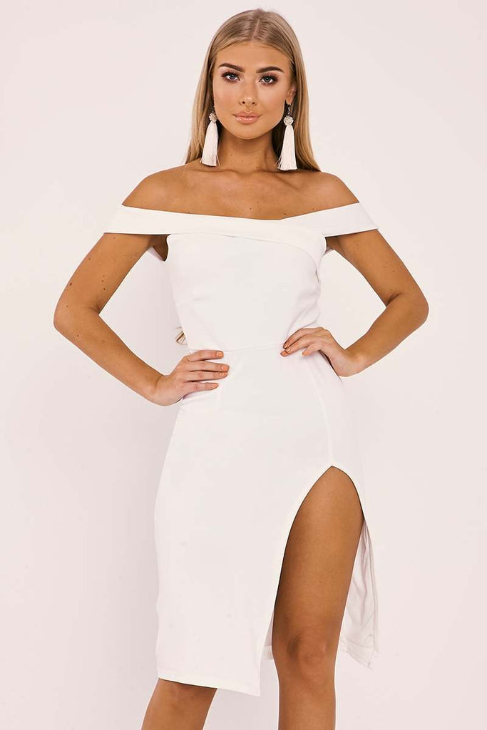 2136075550 White Dresses - Billie Faiers White Bardot Wrap Front Side Split Midi –  Dresses247