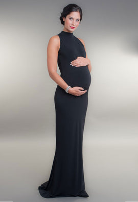 Broody Black High Neck Maternity Evening Dress