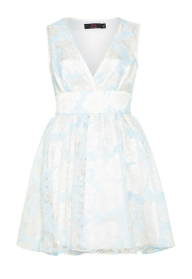 Zibi London Flocked Print Organza Dress in Powder Blue