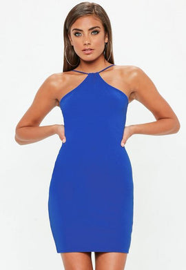 Blue Racer Neck Dress- Blue