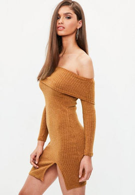 Brown Rib Knitted Bardot Dress- Brown