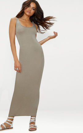 Taupe Basic Maxi Dress- Brown