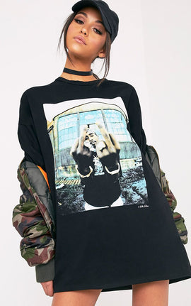 2Pac Black T-Shirt Dress- Black