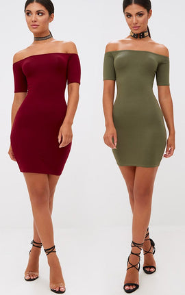 2 Pack Burgundy & Khaki Basic Bardot Bodycon Dress- Red