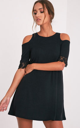 Aaesha Black Sleeve Lace Trim Knitted Dress- Black