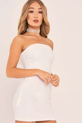 White Dresses - Charlotte Crosby White Vinyl Bandeau Mini Dress