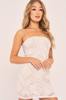 White Dresses - Charlotte Crosby White Strappy Lace Bodycon Dress