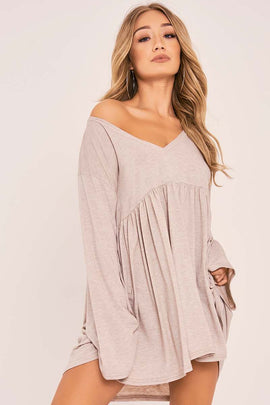 Stone Dresses - Charlotte Crosby Stone Flared Sleeve Jersey Dress
