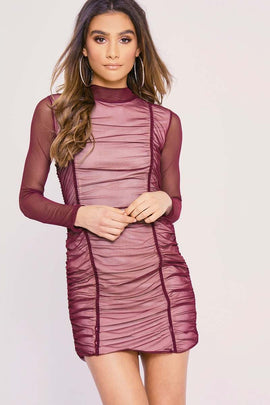 a19f12ccfa086e Berry Dresses - Charlotte Crosby Berry Ruched Mesh Long Sleeved Mini Dress