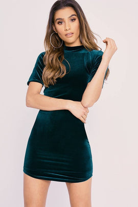 83ab38707be683 Green Dresses - Charlotte Crosby Green Velvet Curved Hem Mini Dress