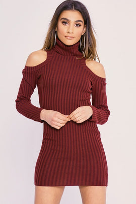 Wine Dresses - Charlotte Crosby Wine Cold Shoulder Roll Neck Jumper Dress