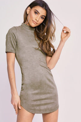 b3bb57c5441261 Khaki Dresses - Charlotte Crosby Khaki Faux Suede Curved Hem Mini Dress