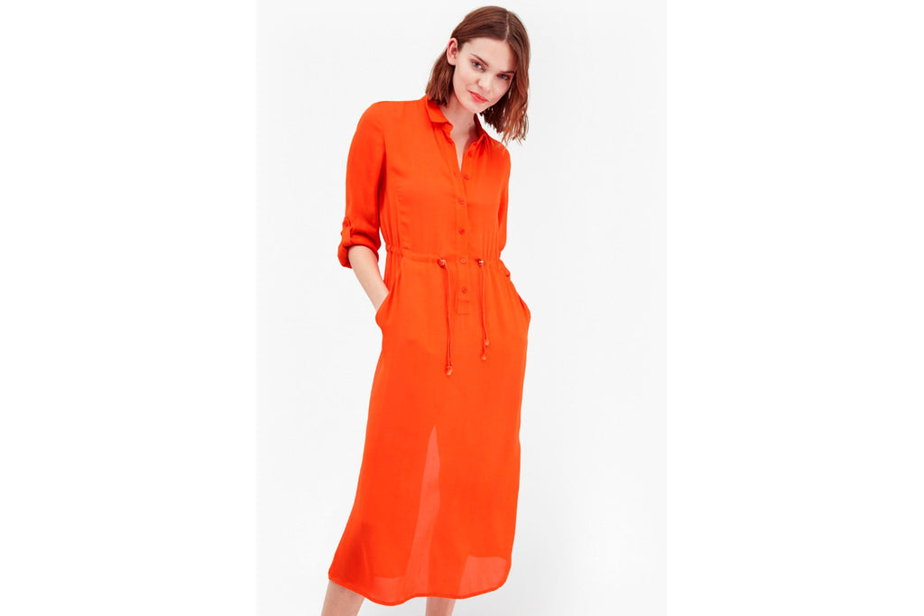 Cecil Drape Shirt Dress - masai red