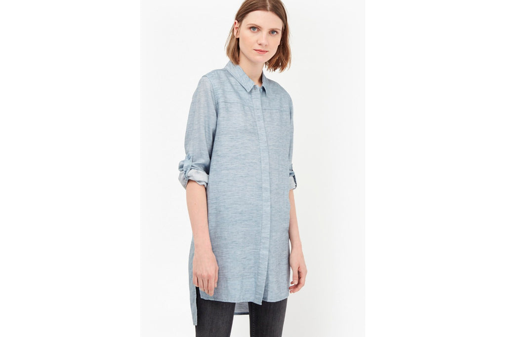 Chambray Shirt Dress - pale blue