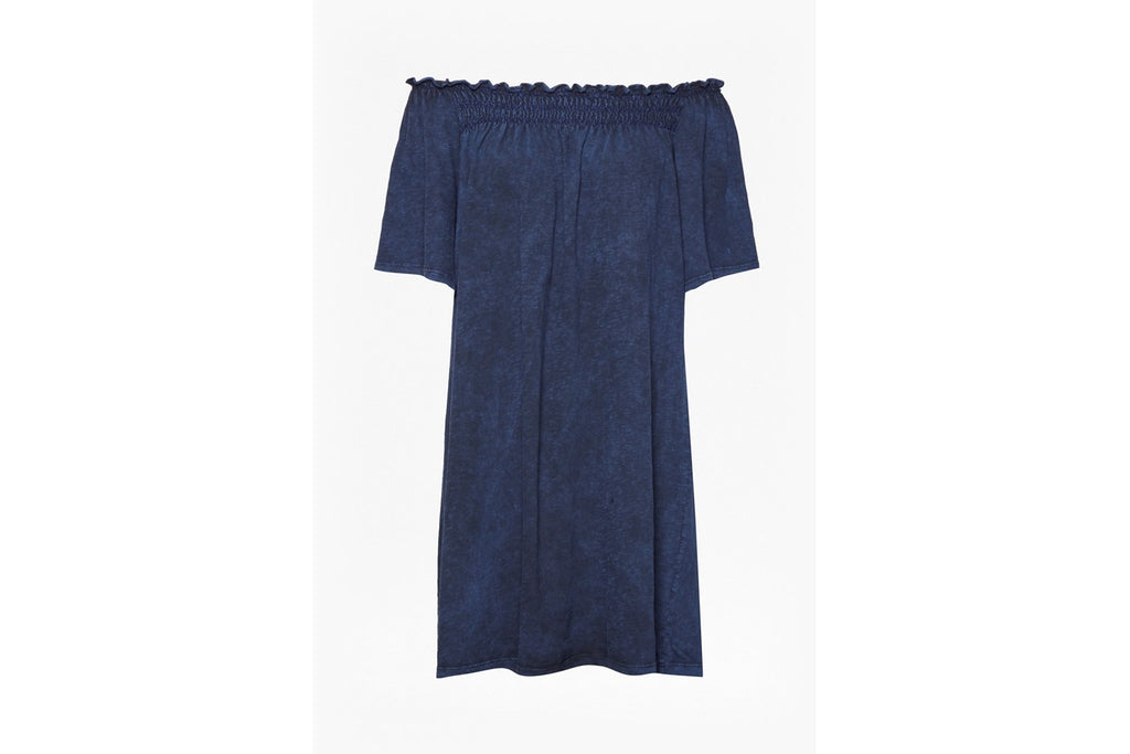 Chisulo Smock Jersey Off Shoulder Dress - indigo wash look