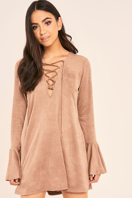 Mocha Dresses - Binky Mocha Suedette Lace Up Flute Sleeve Dress