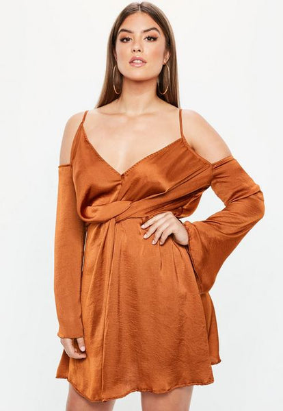 Curve Brown Satin Cold Shoulder Wrap Dress- Brown
