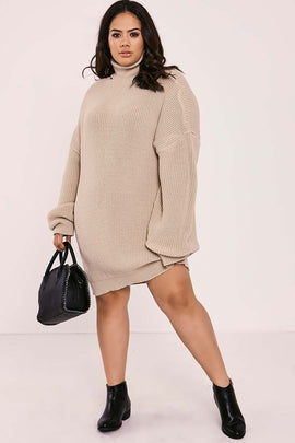 Stone Dresses - Curve Charlotte Crosby Stone Roll Neck Oversized Knitted Jumper Dress