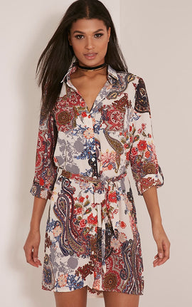 Abagail Cream Paisley Floral Printed Shirt Dress- White