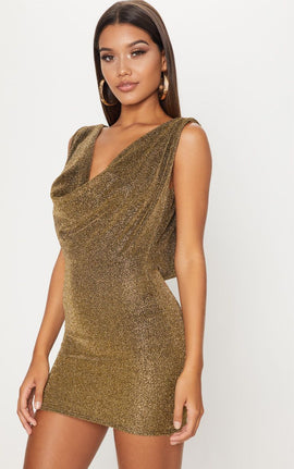 Gold Lurex Cowl Front & Back Bodycon Dress- Yellow