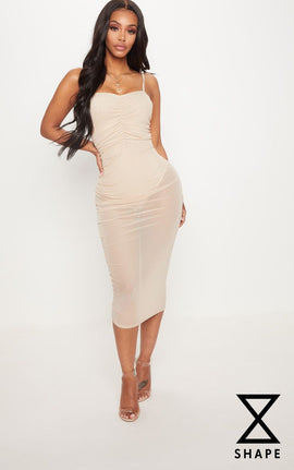 Shape Nude Mesh Ruched Strappy Midi Dress- Pink