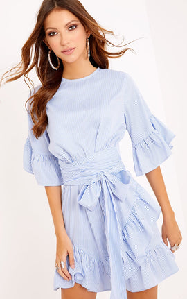 Aaliyah Blue Pinstripe Frill Detail Mini Dress- Blue