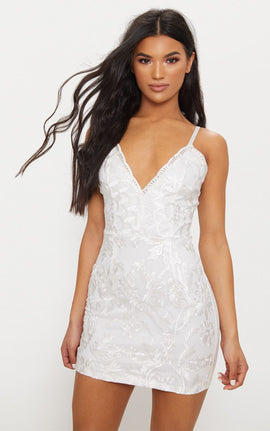 White Embroidered Lace Detail Plunge Bodycon Dress- White