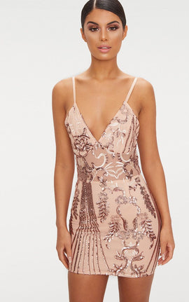 Rose Gold Strappy Sheer Panel Sequin Bodycon Dress- Pink