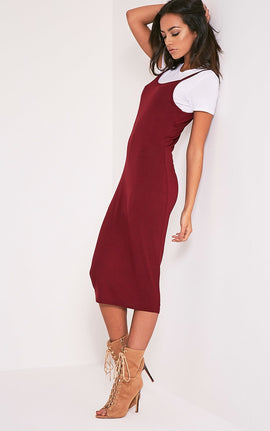 2 Pack Basic Burgundy T Shirt and Midi Dress- Red