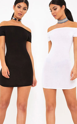 2 Pack White & Black Basic Bardot Bodycon Dress- Multi