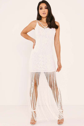 White Dresses - Mariana White Lace Tassle Dress