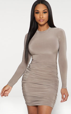 Taupe Second Skin Slinky Long Sleeve Ruched Bodycon Dress- Brown
