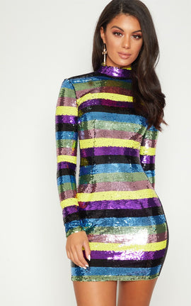 Multi Sequin High Neck Long Sleeve Bodycon Dress- Multi