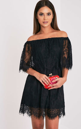 Zoe Black Eyelash Lace Bardot Dress- Black