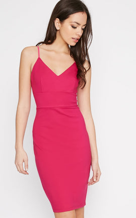 Zoey Hot Pink Strappy Bodycon Dress- Pink
