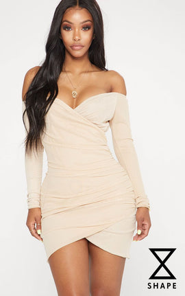 Shape Nude Mesh Ruched Bardot Bodycon Dress- Pink