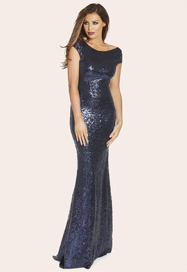 Lipstick Boutique Jessica Wright VIP Fran Navy Sequin Maxi Dress