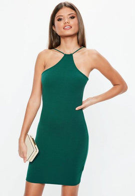 Green Racer Neck Bodycon Dress- Green