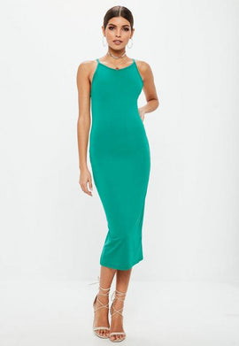 Green Racer Neck Midi Dress- Blue