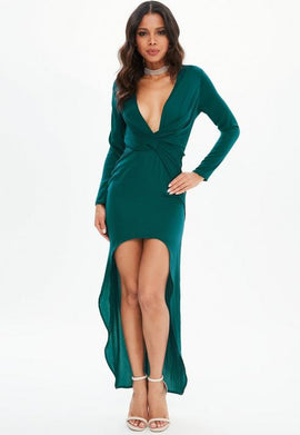 Green Satin Asymmetric Twist Front Maxi Dress- Blue