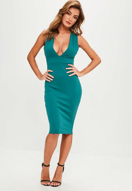 Green Scuba V Plunge Strap Side Midi Dress- Blue