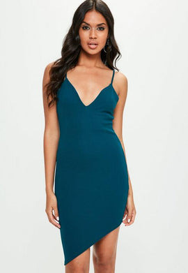 Green Strappy Plunge Asymmetric Hem Midi Dress- Blue